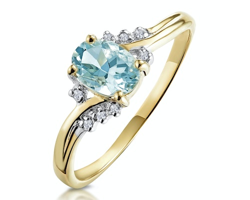 aquamarine yellow gold engagement rings