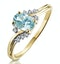 Aquamarine 0.70CT And Diamond 9K Yellow Gold Ring - image 1
