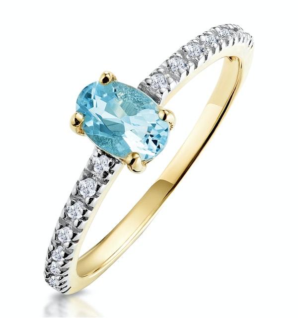 Aquamarine 0.35CT And Diamond 9K Yellow Gold Ring - image 1