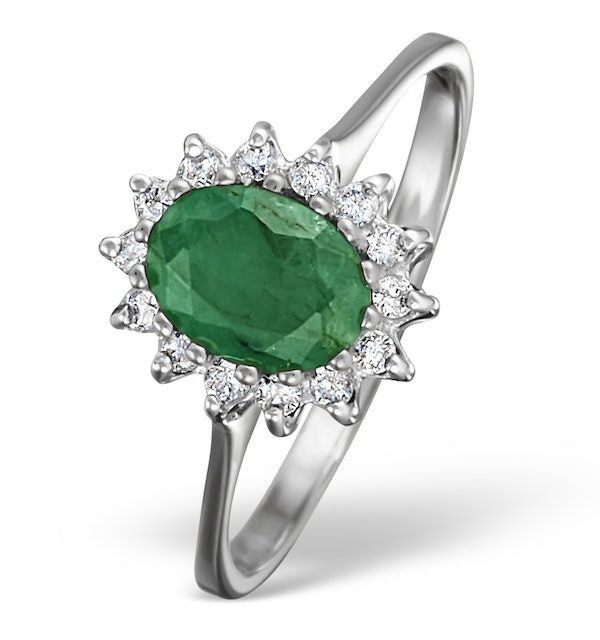 Emerald 0.83ct And Diamond 9K White Gold Ring - image 1