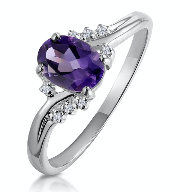 Amethyst 0.68ct And Diamond 9K White Gold Ring - image 1