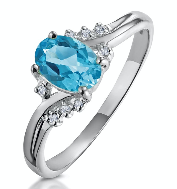 Blue Topaz 0.94CT And Diamond 9K White Gold Ring - image 1