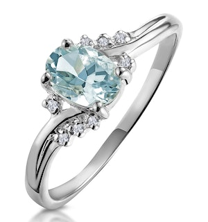 Aquamarine 0.70CT And Diamond 9K White Gold Ring  E5731