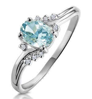 Aquamarine 0.70CT And Diamond 18K White Gold Ring  N4442