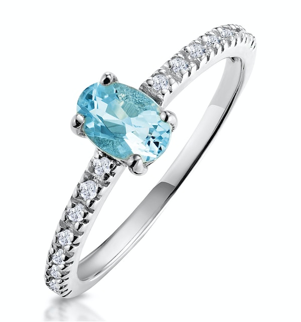 0.35ct Aquamarine 0.08ct Diamond and 9K Gold Ring -  E5775 - image 1