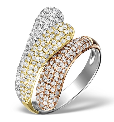 9K Gold 3 Tone Diamond Ring 1.09ct - image 1