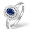 Sapphire 4 x 6mm And Diamond 9K White Gold Ring - image 1