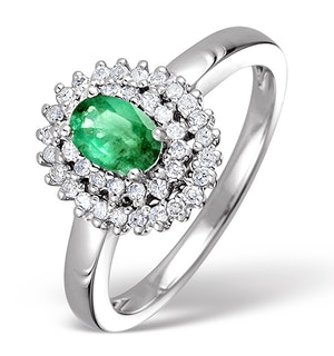 Emerald 0.45ct And Diamond 9K White Gold Ring  E5798