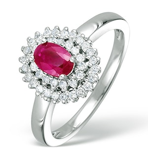 Ruby 6 x 4mm And Diamond 9K White Gold Ring  E5799