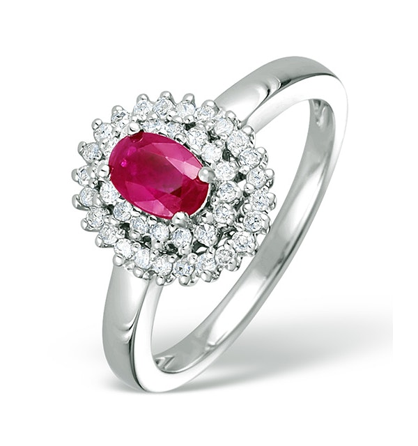 Ruby 6 x 4mm And Diamond 9K White Gold Ring  E5799 - image 1