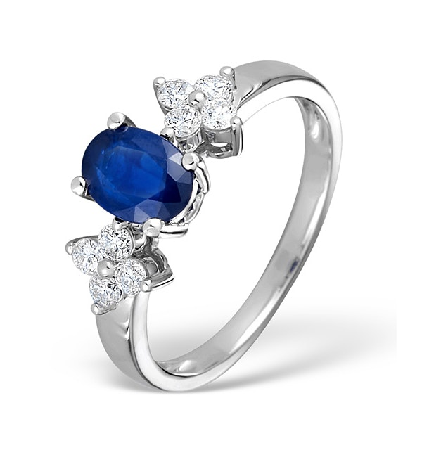 Sapphire 5 x 7mm And Diamond 9K White Gold Ring - image 1