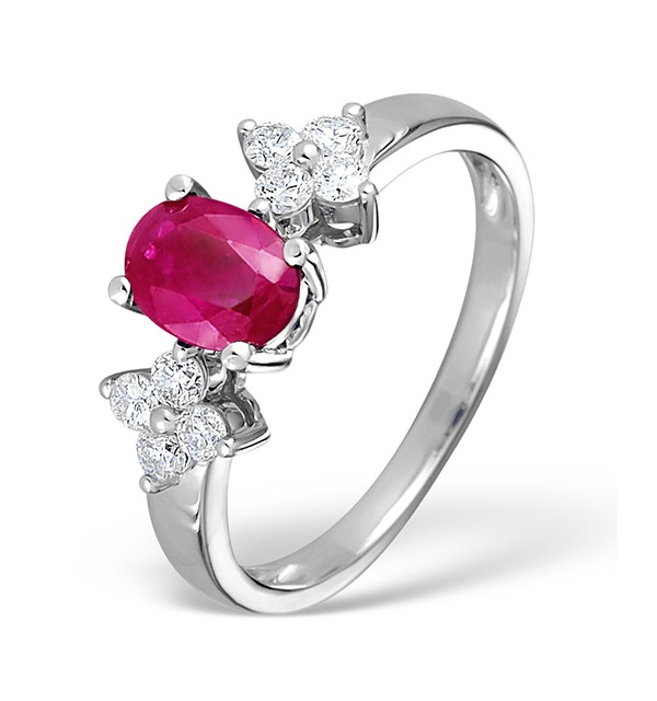Ruby 0.90ct And Diamond 9K White Gold Ring - image 1