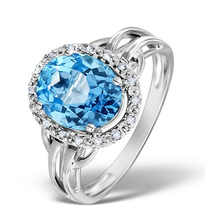 Blue Topaz 3.42ct And Diamond 9K White Gold Ring