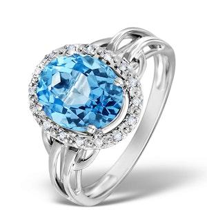 Blue Topaz 3.42ct And Diamond 9K White Gold Ring