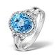 Blue Topaz 3.42ct And Diamond 9K White Gold Ring - image 1