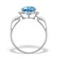 Blue Topaz 3.42ct And Diamond 9K White Gold Ring - image 2