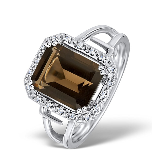 Smokey Quartz 3.28ct And Diamond 9K White Gold Ring - image 1