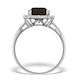 Smokey Quartz 3.28ct And Diamond 9K White Gold Ring - image 2