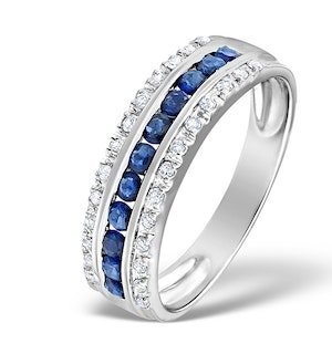 Sapphire 0.16ct And Diamond 0.16ct 9K White Gold Ring