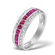 Ruby and Diamond 9K White Gold Ring - Size S.5 - image 1