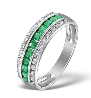 Emerald and Diamond Eternity Ring 0.56ct in 9K White Gold