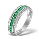 Emerald and Diamond Eternity Ring 0.56ct in 9K White Gold - image 1