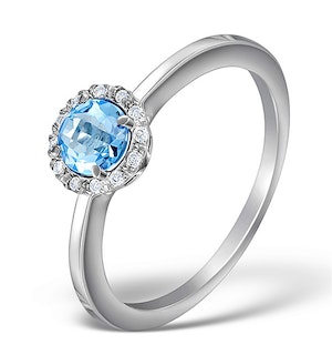Blue Topaz 7mm And Diamond Ring 9K White Gold