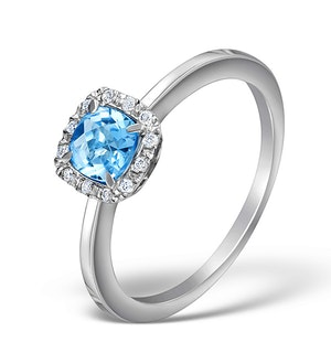 Blue Topaz 8mm And Diamond Ring 9K White Gold