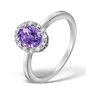 Amethyst 8 x 10mm And Diamond Ring In 9K White Gold