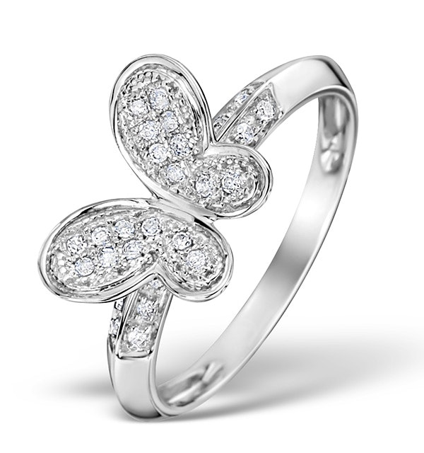 Diamond 0.15ct 9K White Gold Butterfly Ring - image 1