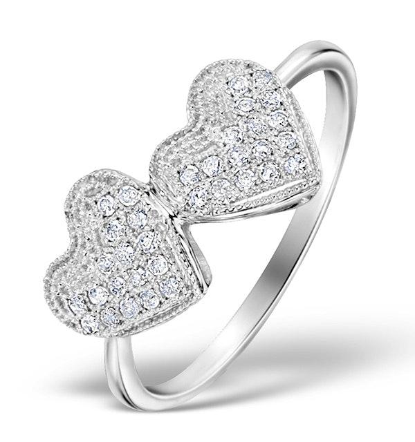 Diamond 0.17ct 9K White Gold 2 Hearts Ring - image 1