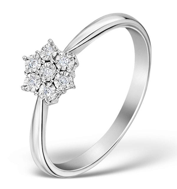 Diamond 0.04ct 9K White Gold Cluster Ring - E5885 - image 1