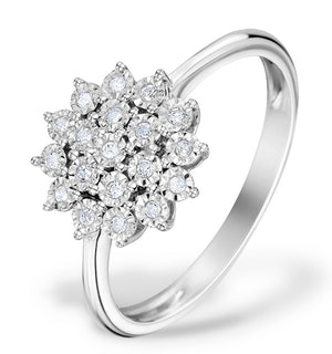 Diamond 0.10ct 9K White Gold Cluster Ring - E5887