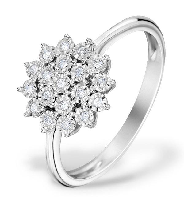 Diamond 0.10ct 9K White Gold Cluster Ring - E5887 - image 1