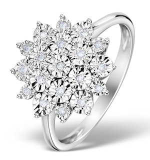 Diamond 0.10ct 9K White Gold Large Cluster Ring - E5888