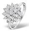 Diamond 0.10ct 9K White Gold Large Cluster Ring - E5888 - image 1