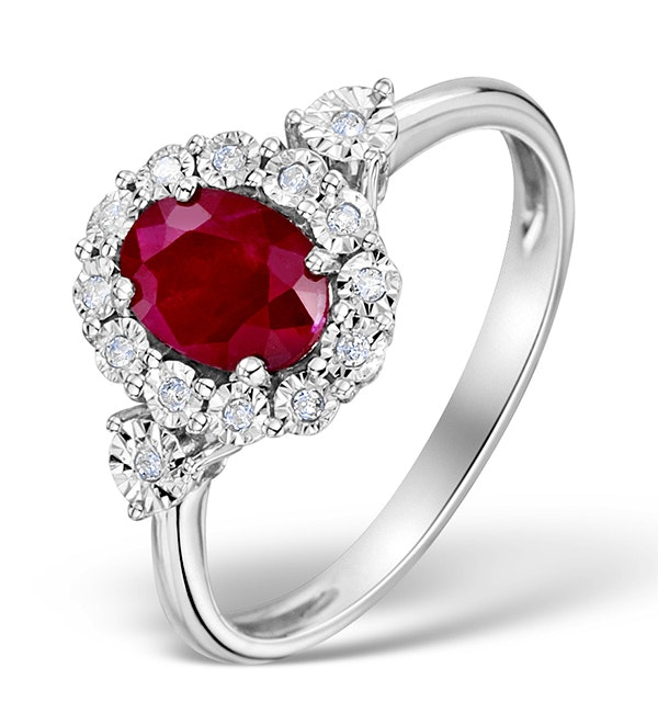 Ruby 7 x 5mm and Diamond 9K White Gold Ring - image 1