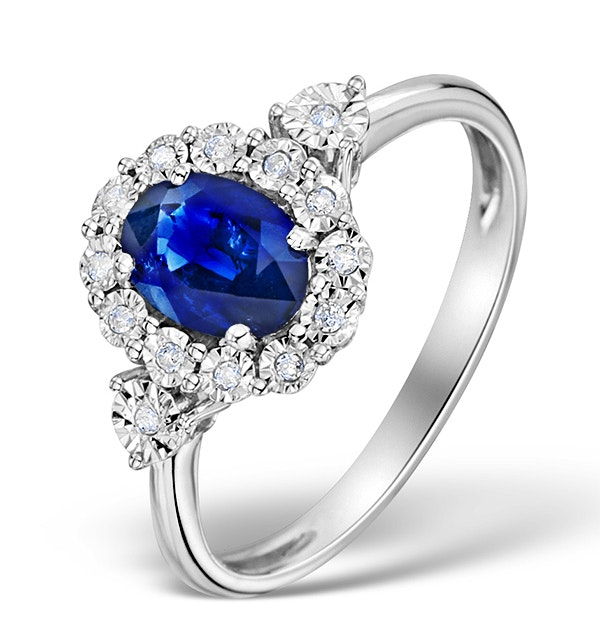 Sapphire 7 x 5mm and Diamond 9K White Gold Ring - image 1