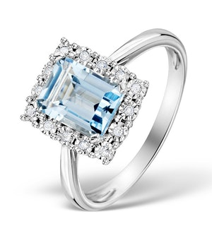 Blue Topaz 8 x 6mm and Diamond 9K White Gold Ring