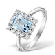 Blue Topaz 8 x 6mm and Diamond 9K White Gold Ring - image 1