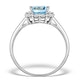 Blue Topaz 8 x 6mm and Diamond 9K White Gold Ring - image 2