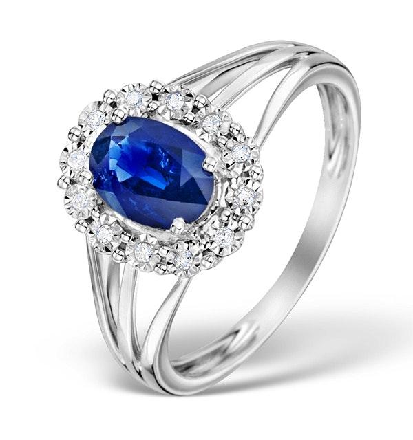 Sapphire 7 x 5mm and Diamond 9K White Gold Ring Item E5805 - image 1