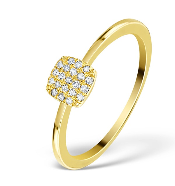 0.22ct Diamond and 9K Gold Daisy Ring - E5816 - image 1