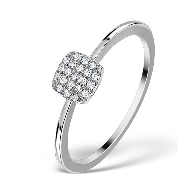 0.22ct Diamond and 9K White Gold Daisy Ring - E5817 - image 1