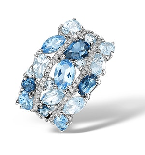 4.34ct Blue Topaz 0.16ct Diamond and 9K White Gold Ring -  E5929