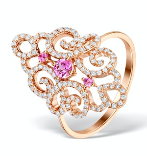 Vivara Collection Pink Sapphire 0.42ct Diamond 9K Rose Gold Ring E5956