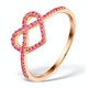 Vivara Collection 0.27ct Pink Sapphire 9K Rose Gold Heart Ring E5951 - image 1