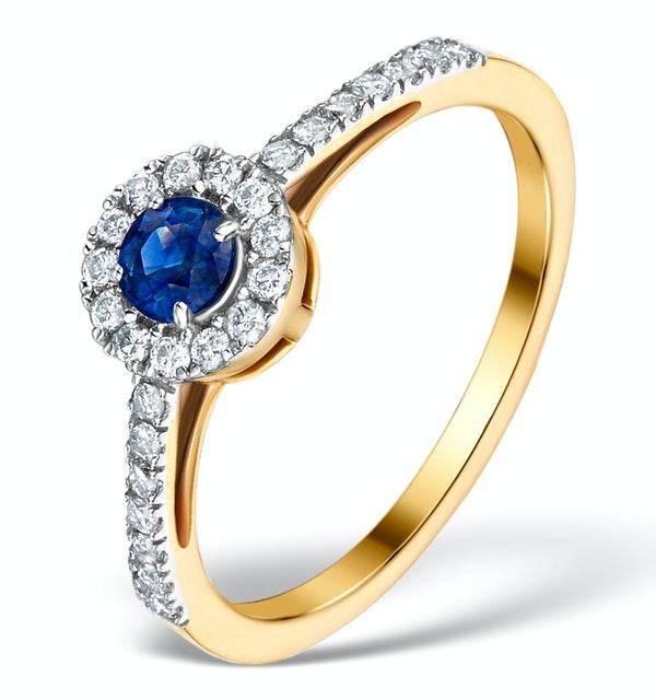 Sapphire Halo Martini  0.25CT Diamond Ring in 9K Gold E5968 - image 1