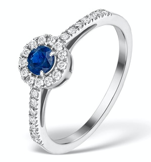 Sapphire Halo Martini  0.25CT Diamond Ring in 9K White Gold E5969