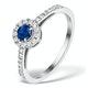 Sapphire Halo Martini  0.25CT Diamond Ring in 9K White Gold E5969 - image 1